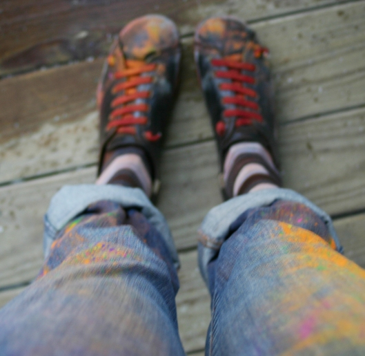 Shoes with holi fest paint